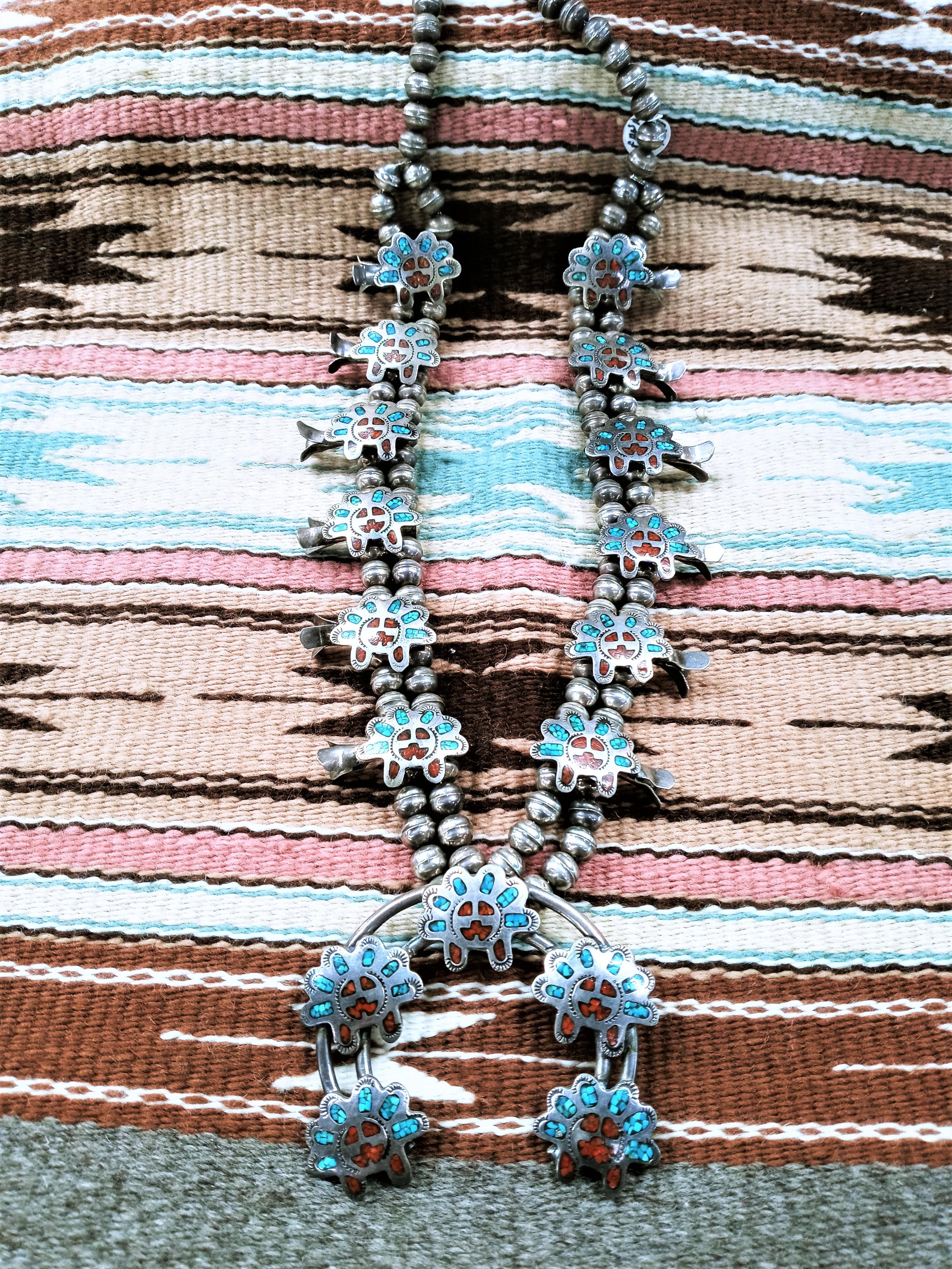 SBN1- Pawn Squash Blossom Necklace