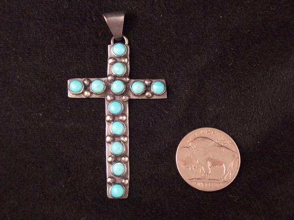 C2 Navajo Turquoise Cross Pendant