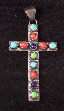 C3 Navajo Handmade Multi Stone Cross