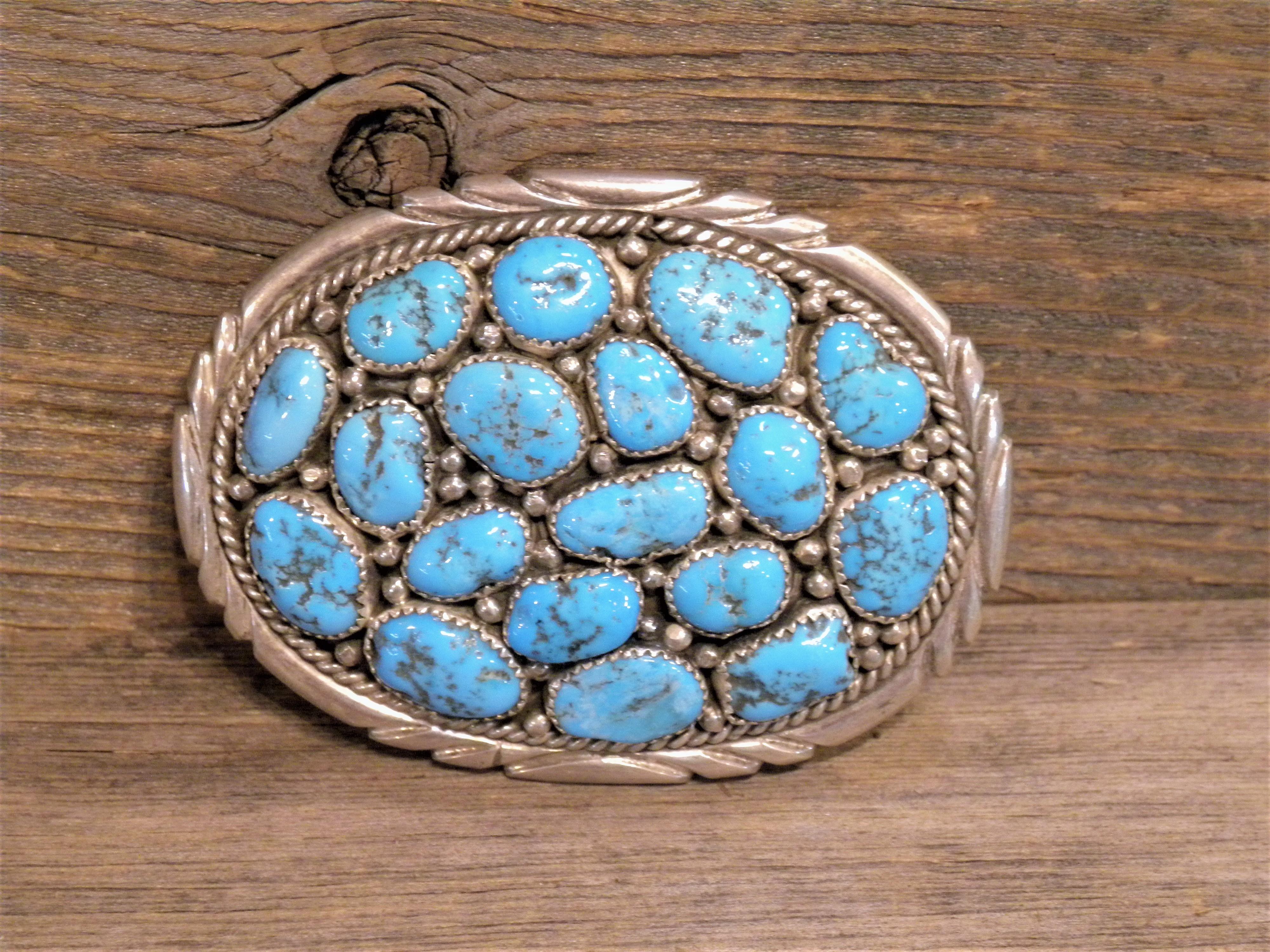 BB4 Pawn Navajo Handmade Sleeping Beauty Turquoise Belt Buckle