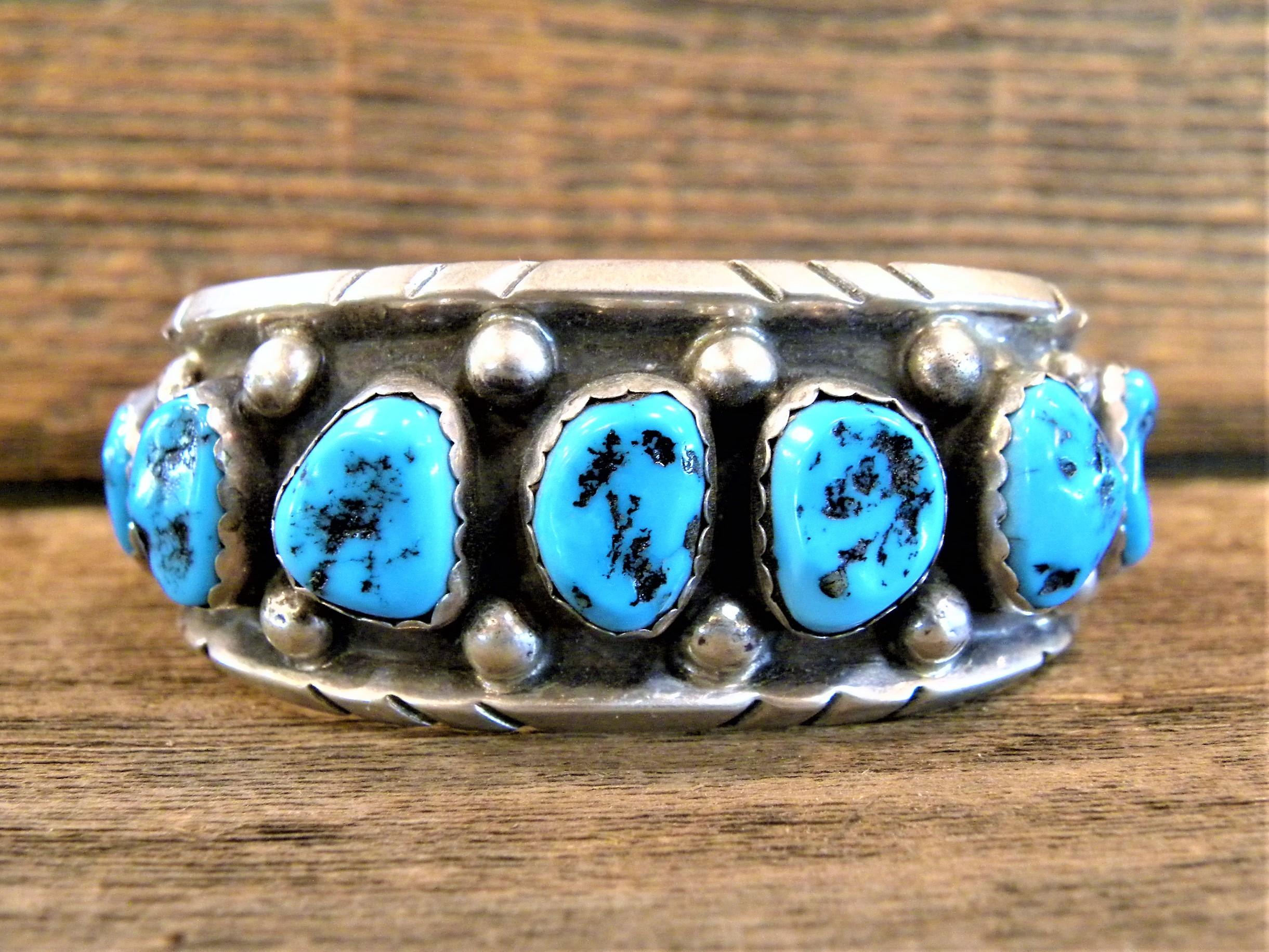 PB19 Pawn Sleeping Beauty Turquoise Navajo Handmade Bracelet
