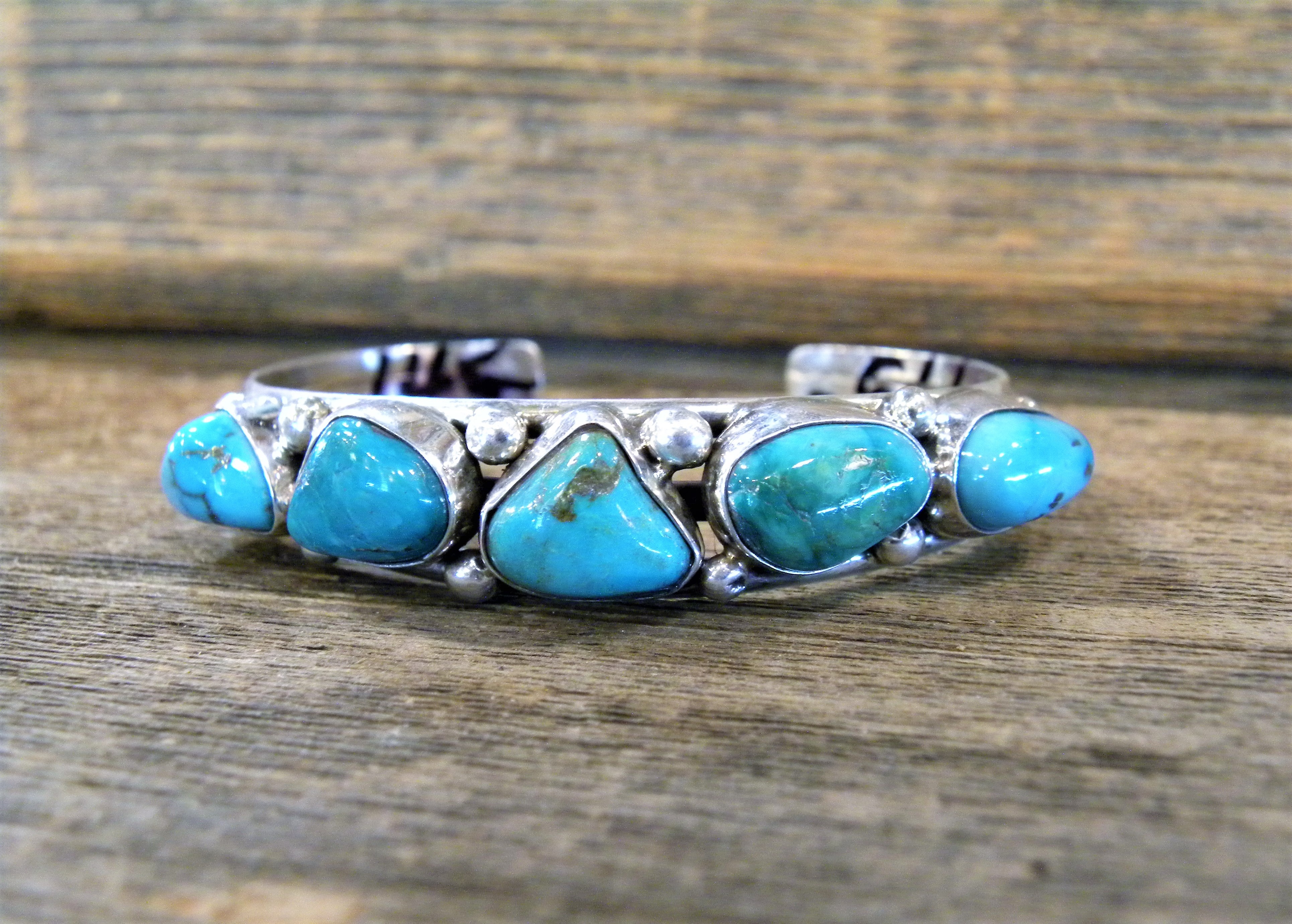 PB35 Pawn 5 Stone Turquoise Bracelet Navajo Handmade