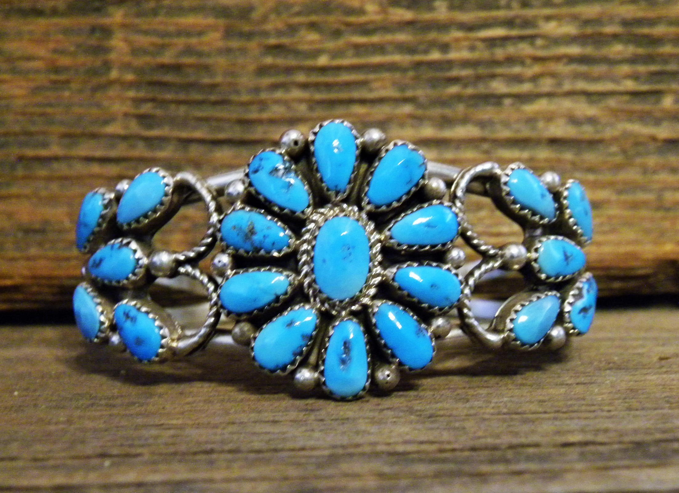 PB30 Pawn Navajo Handmade Sleeping Beauty Turquoise Bracelet with Butterfly Design