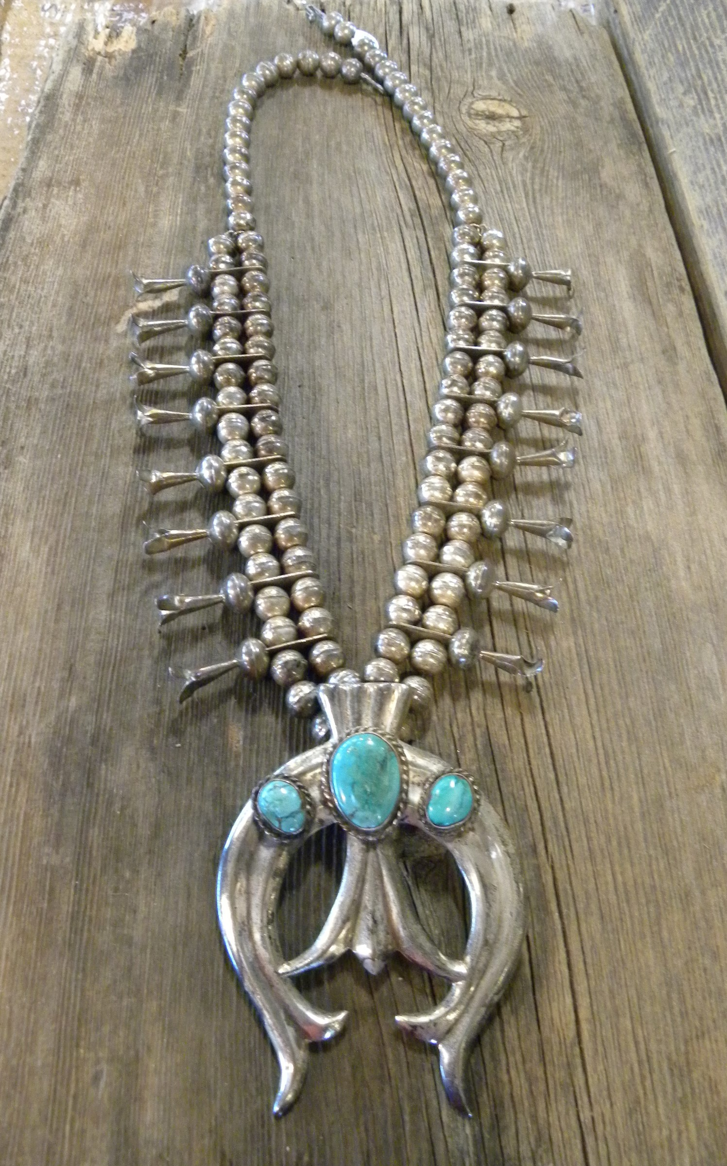 SBN8 Pawn Circa 1950's Navajo Handmade Turquoise Squash Blossom Necklace