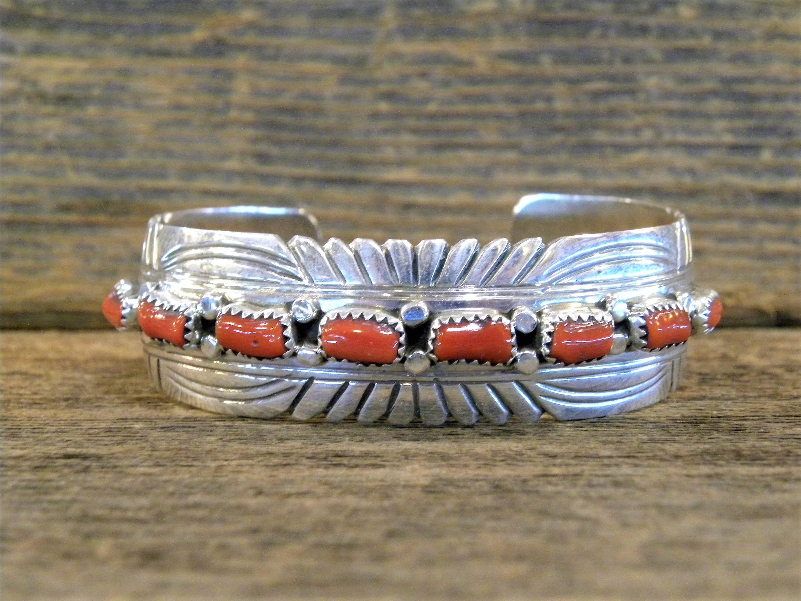 PB9 Pawn Coral Navajo Handmade Bracelet
