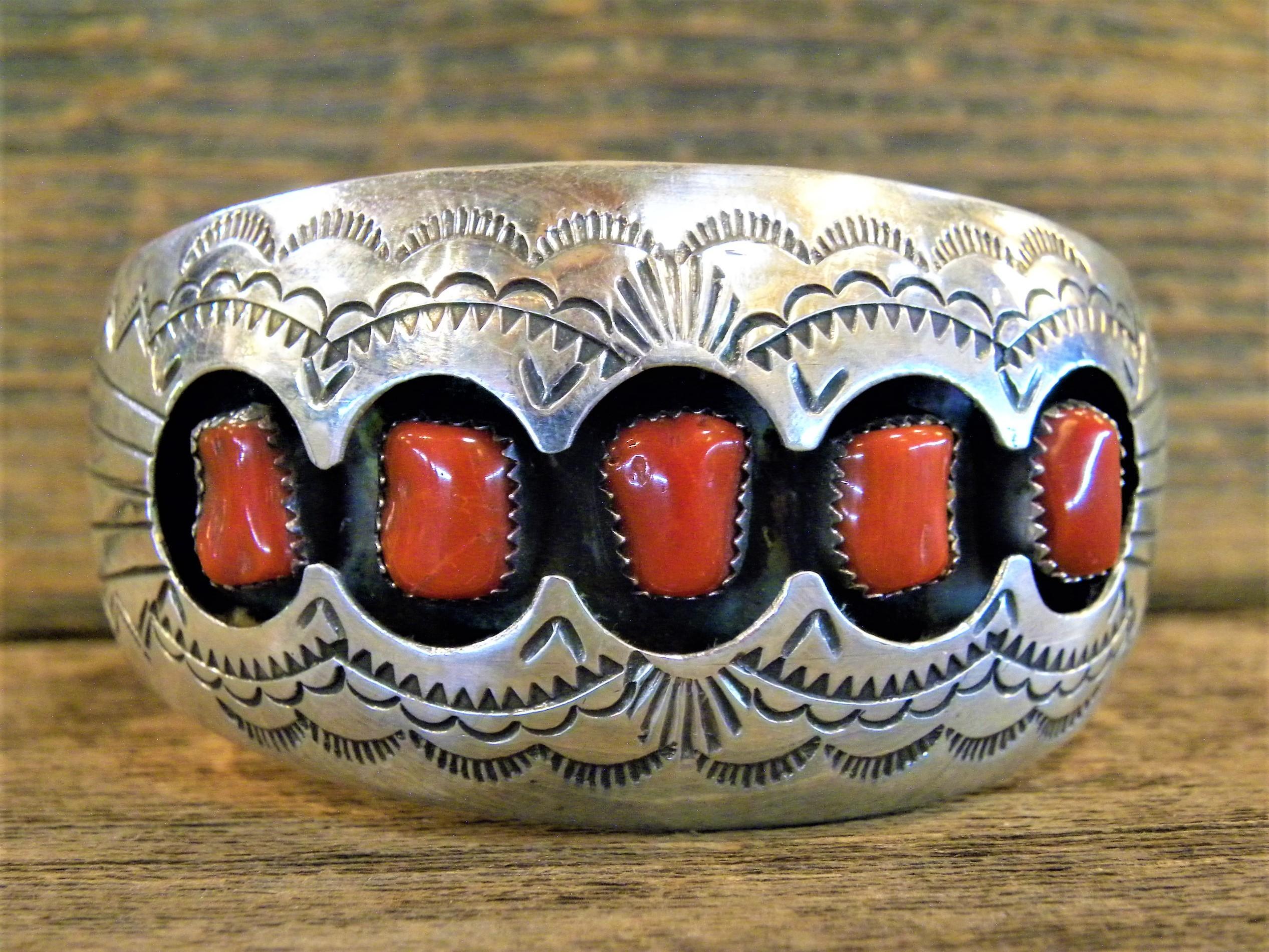 PB42 Pawn Navajo Handmade Coral Bracelet