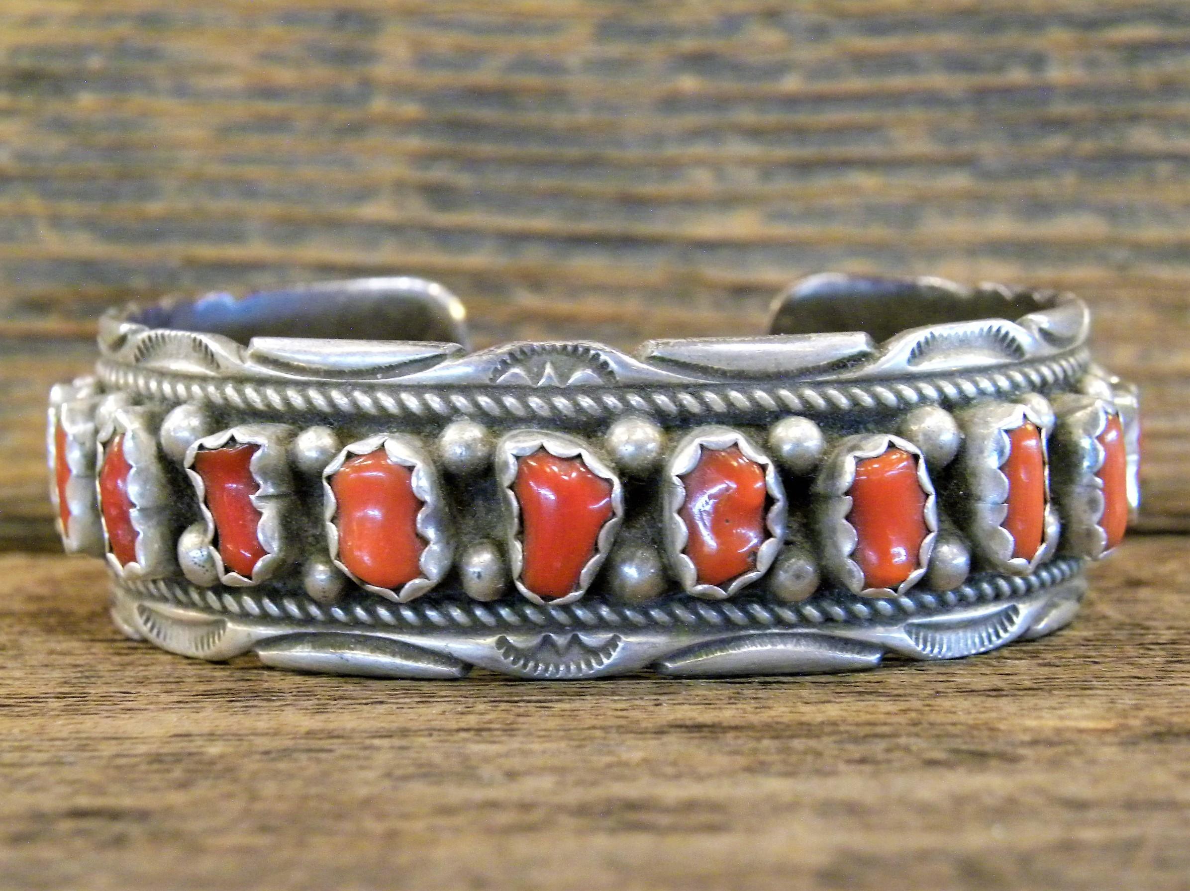 PB53 Pawn Navajo Handmade Coral Bracelet