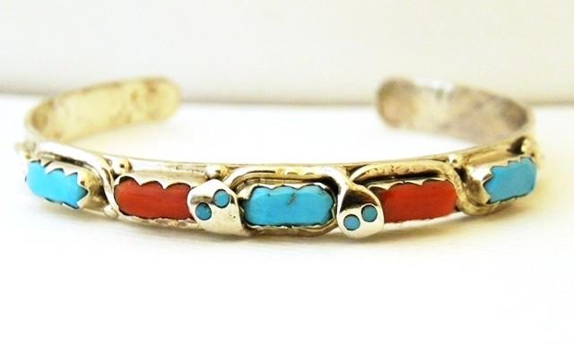 ECB5 Effie Calavaza Turquoise & Coral Bracelet
