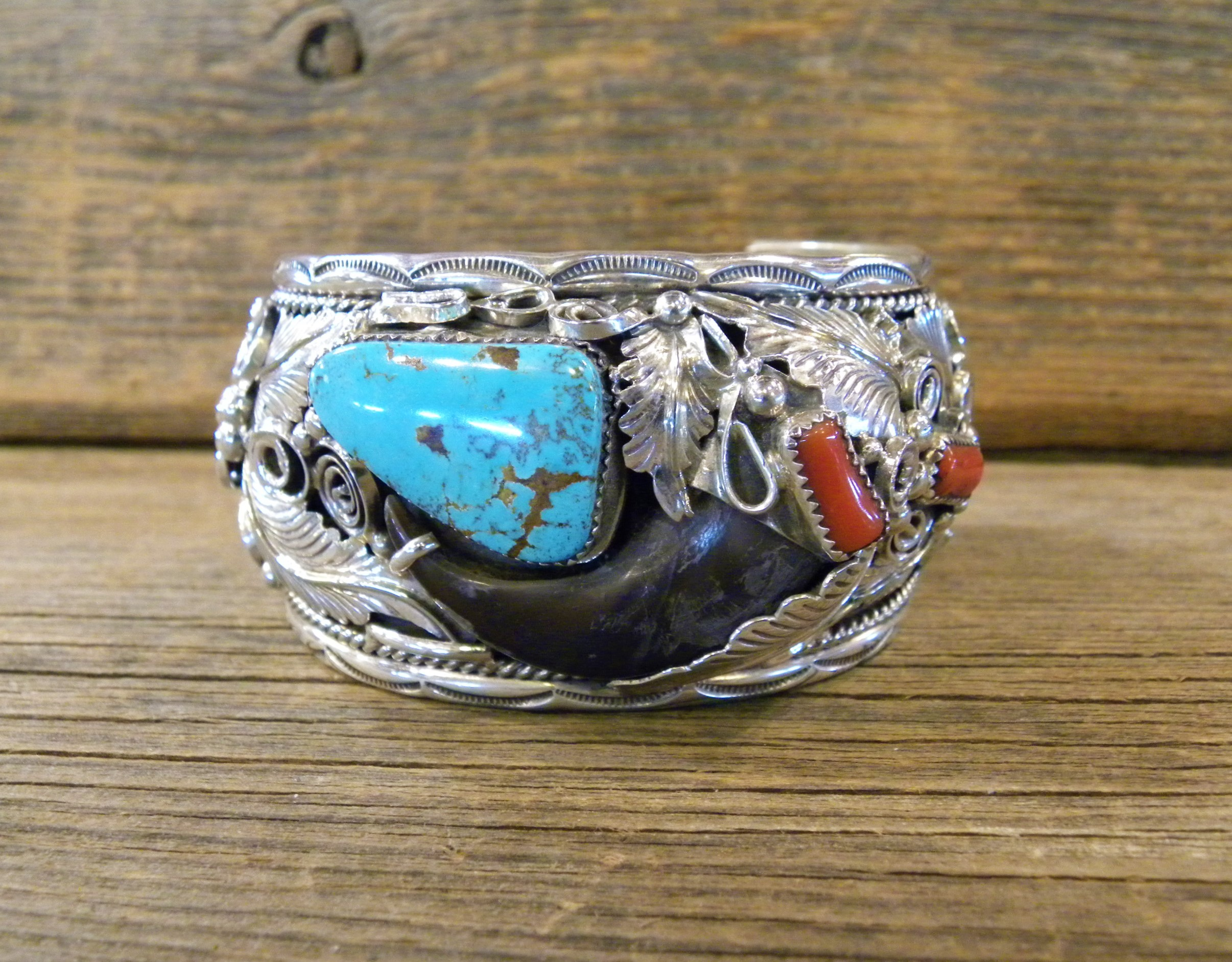 B28- Bear Claw Turquoise & Coral Bracelet