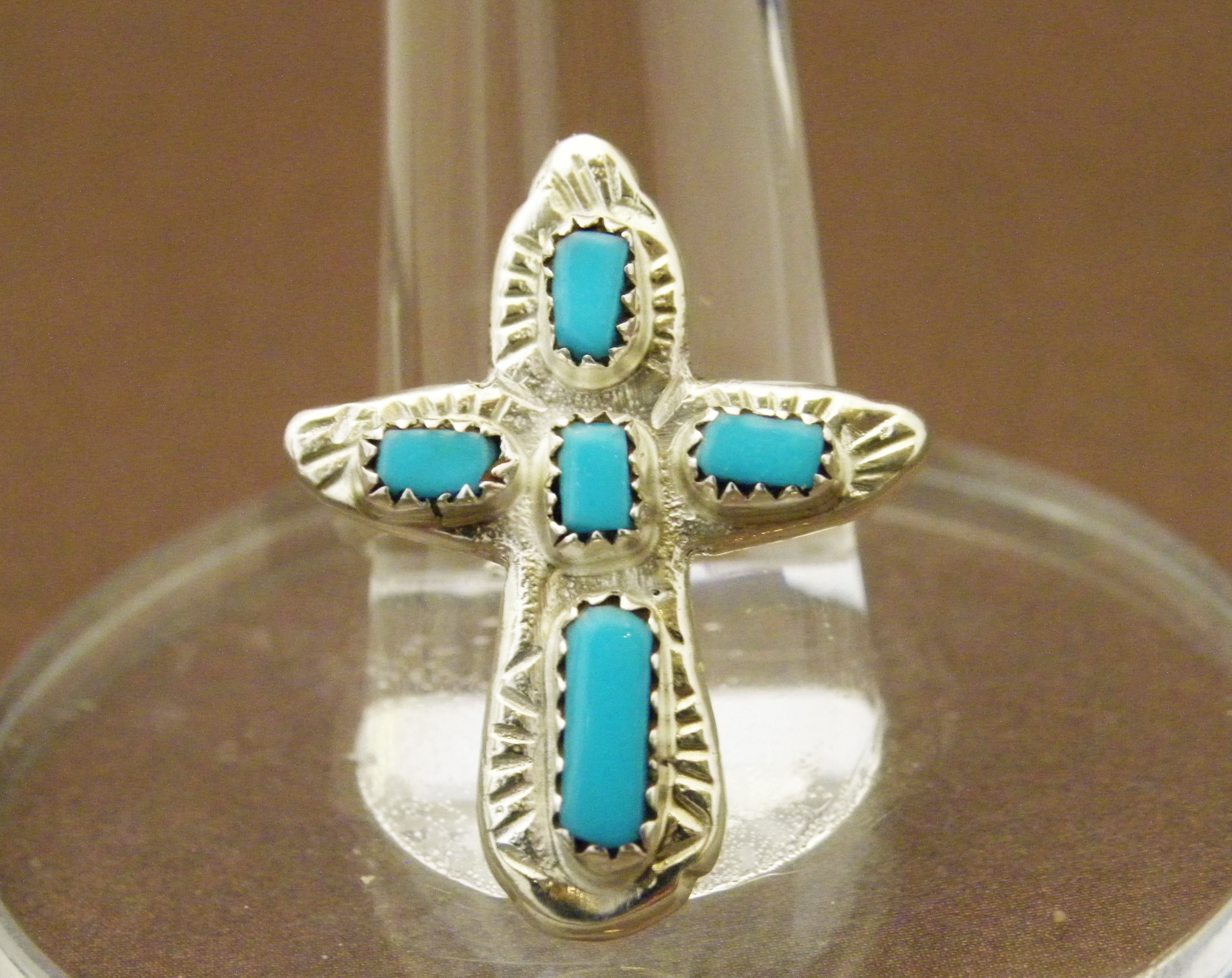 R6- Zuni Turquoise Cross Ring