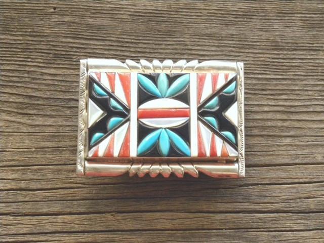 DM15B Zuni Channel Inlay Belt Buckle