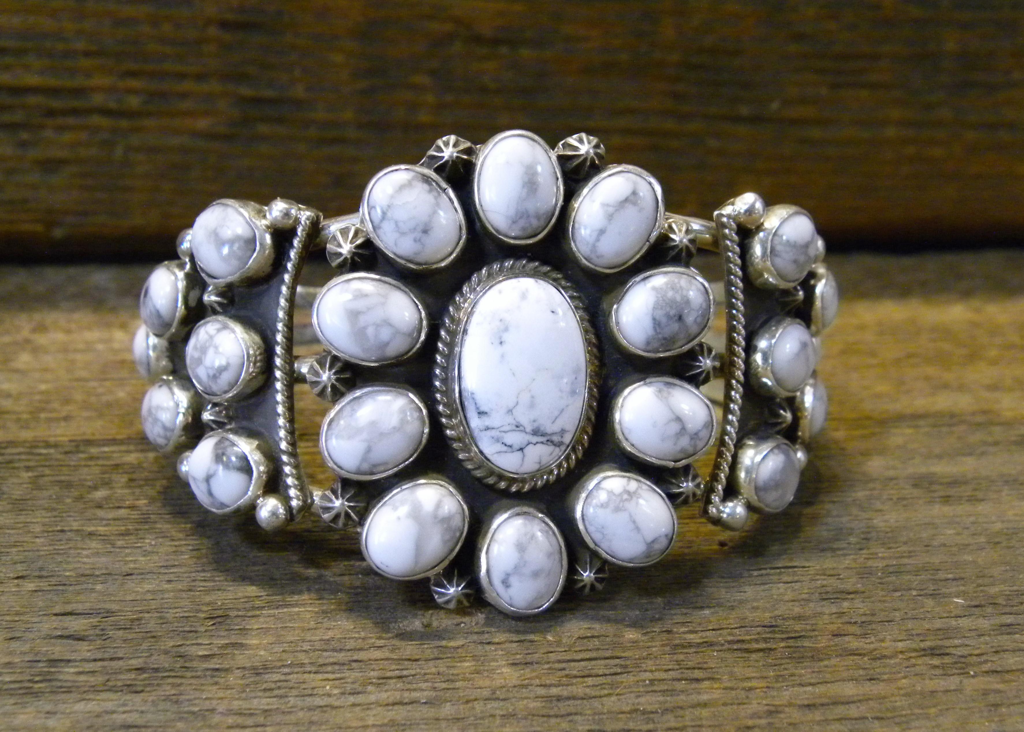 PB28- Pawn Navajo Handmade Howlite Bracelet
