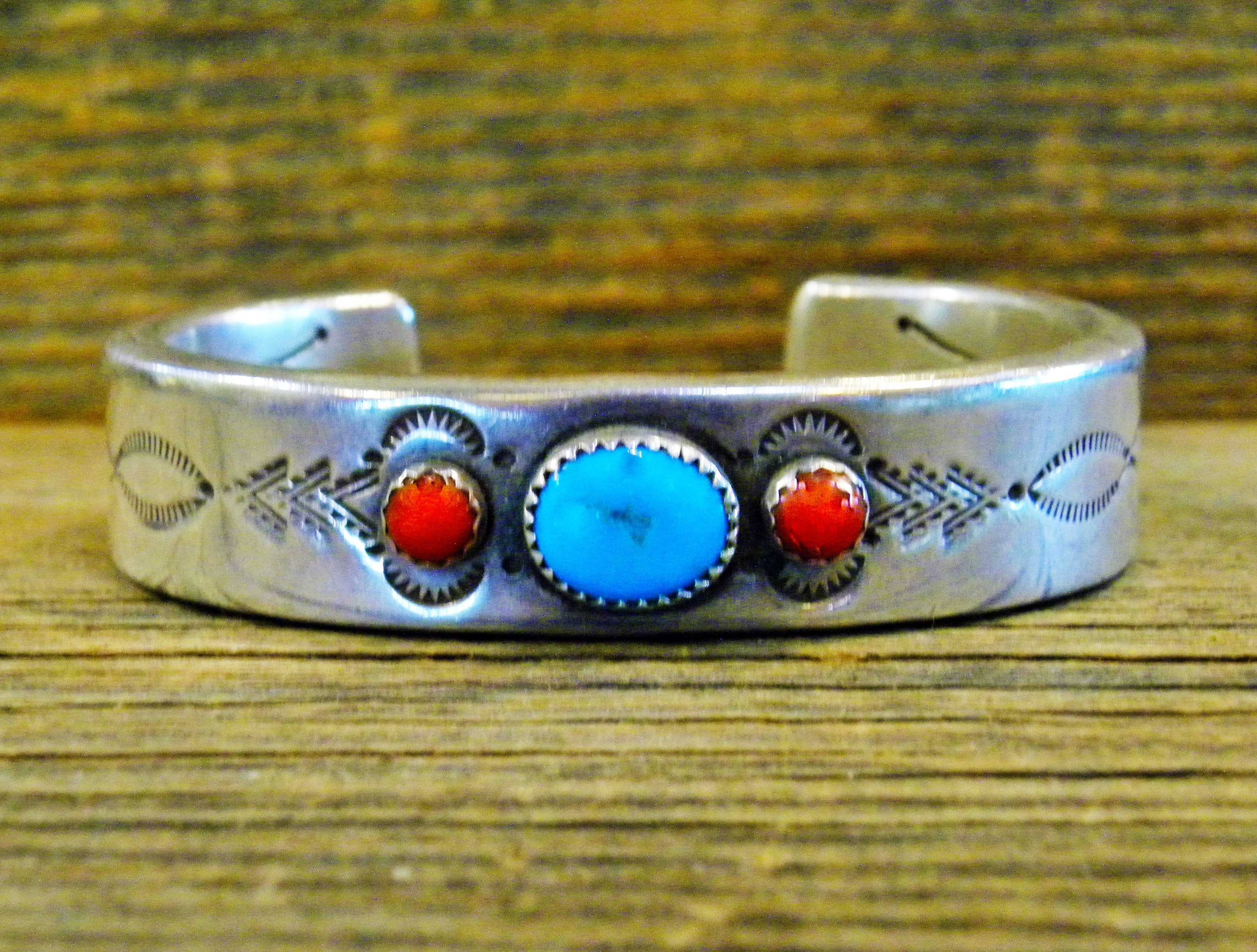PB57- Pawn Turquoise & Coral Bracelet