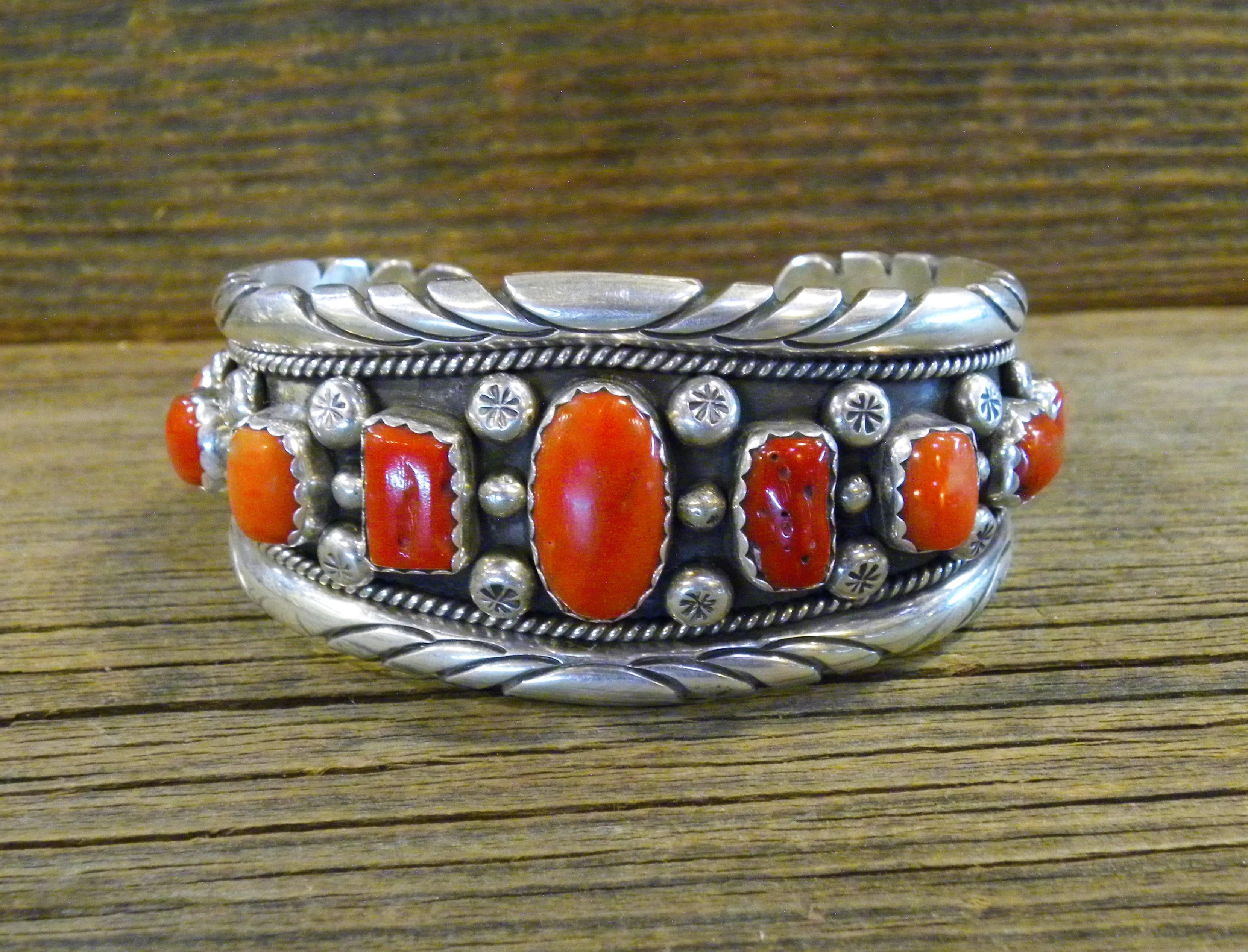 PB72- Pawn Navajo Handmade Coral Bracelet