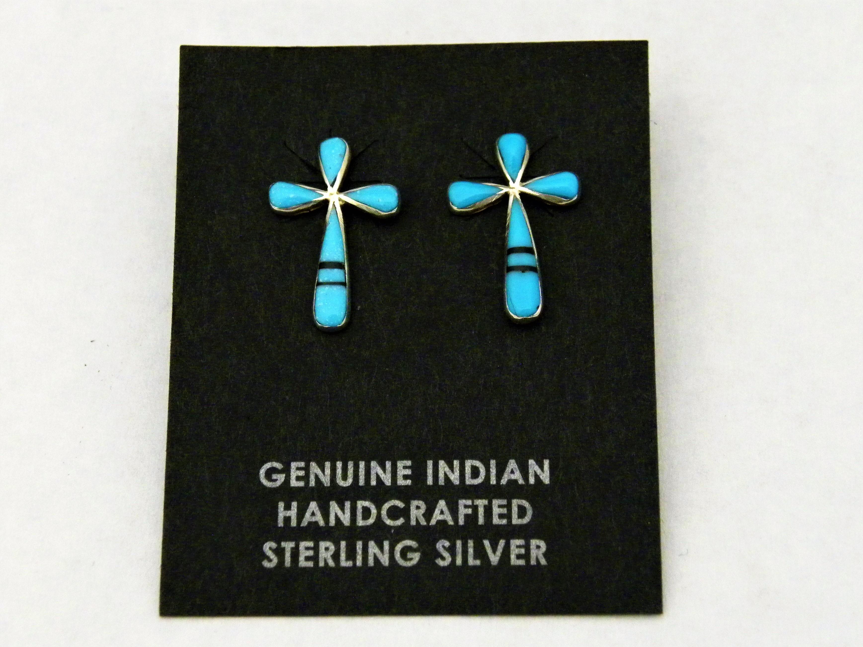 ER9- Zuni Inlay Cross Earrings