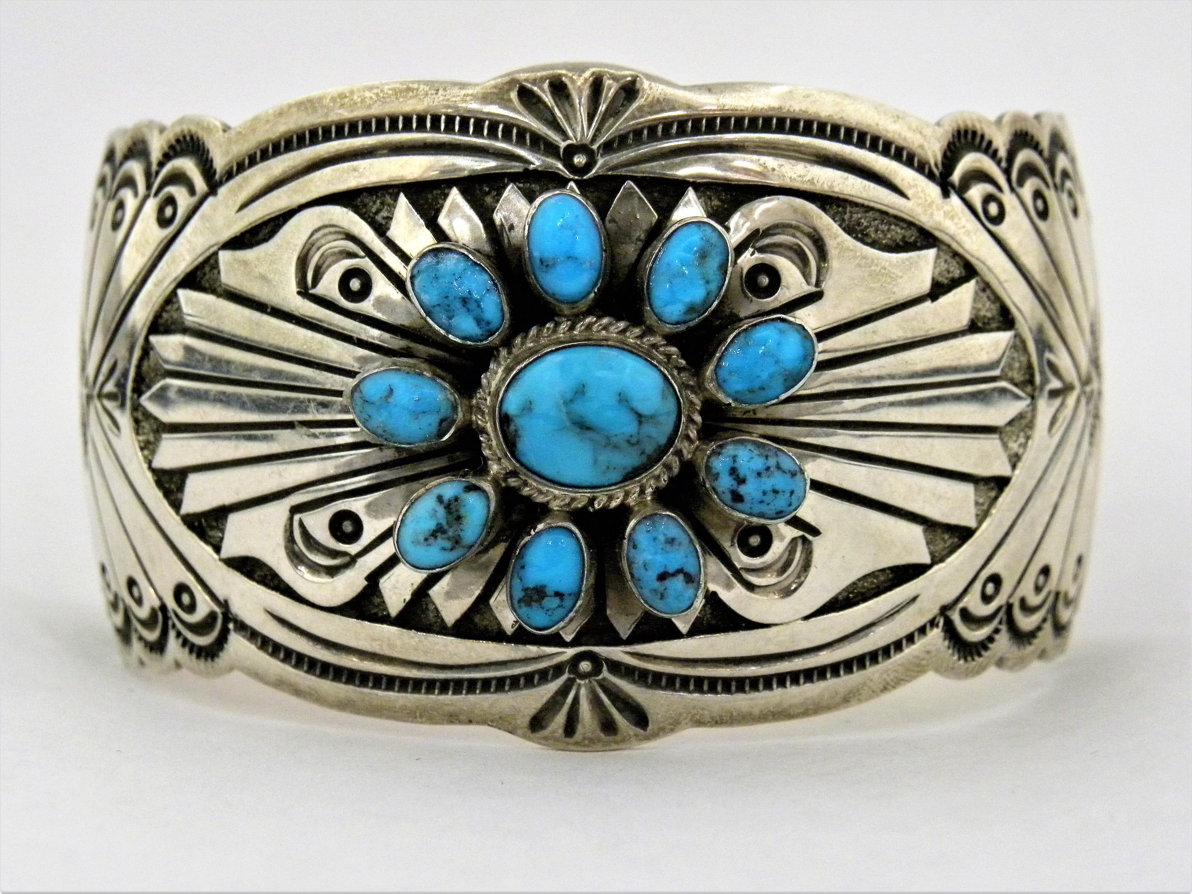 PB50- Pawn Navajo Turquoise Bracelet