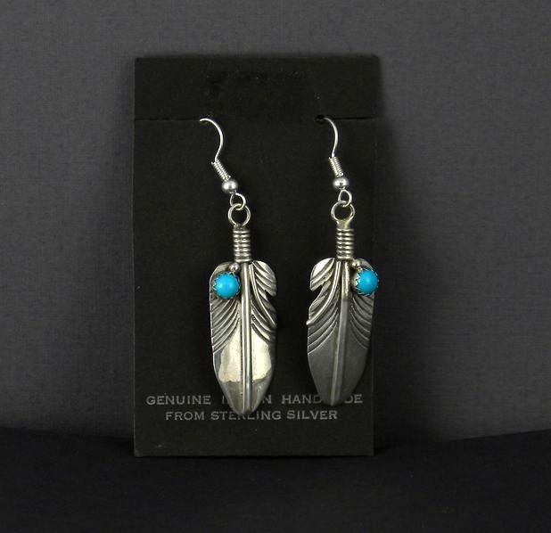 ERN46Navajo Handmade Feather Earrings