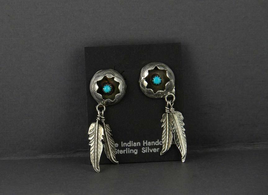 ERN58 Navajo Handmade Turquoise Earrings