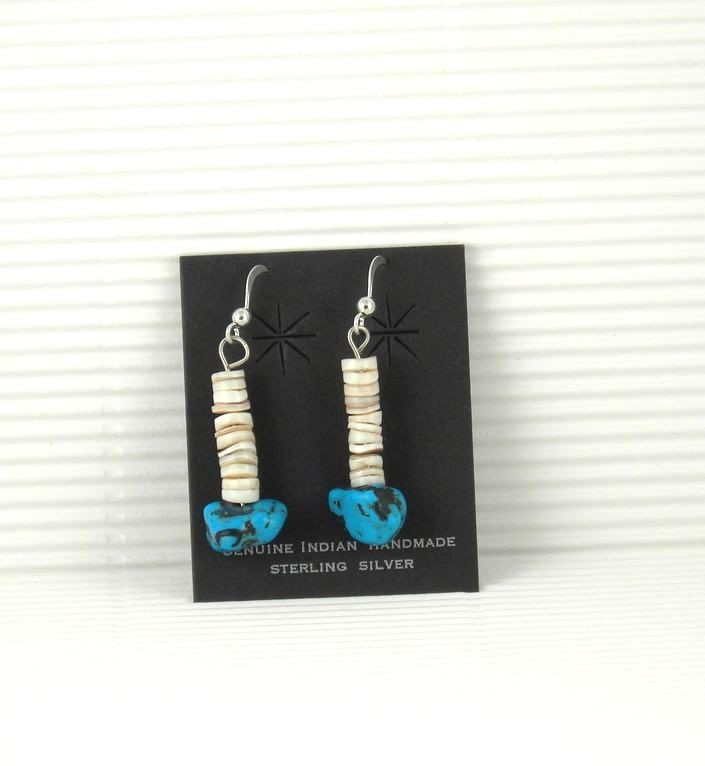 ERN59 Melon Shell & Turquoise Earrings