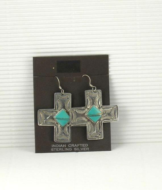 ERN62 Navajo Handmade Cross Earrings