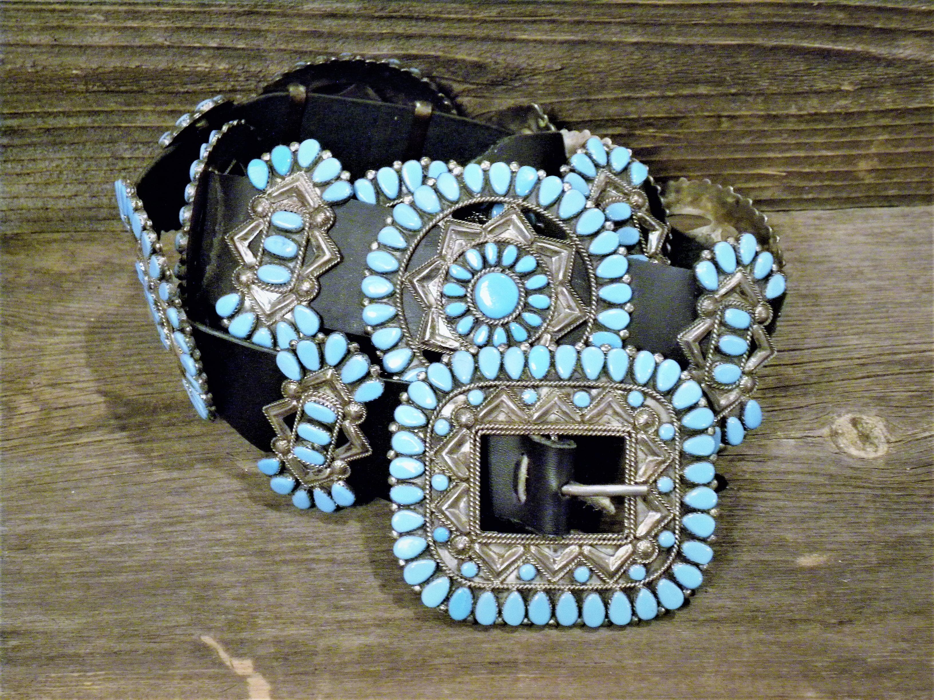 CB4 Pawn Sleeping Beauty Turquoise Concho Belt