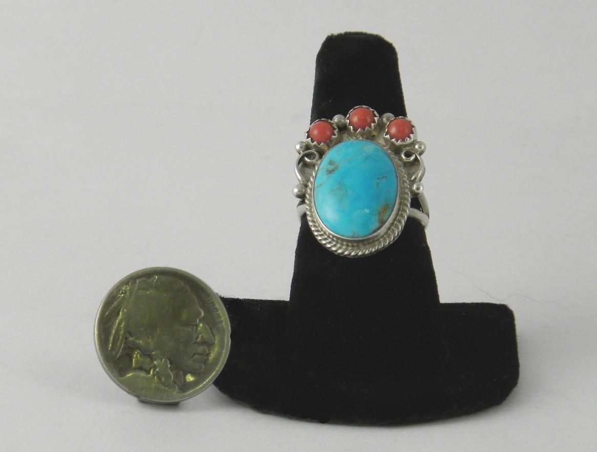 IDR1 Turquoise & Coral Navajo Handmade Ring