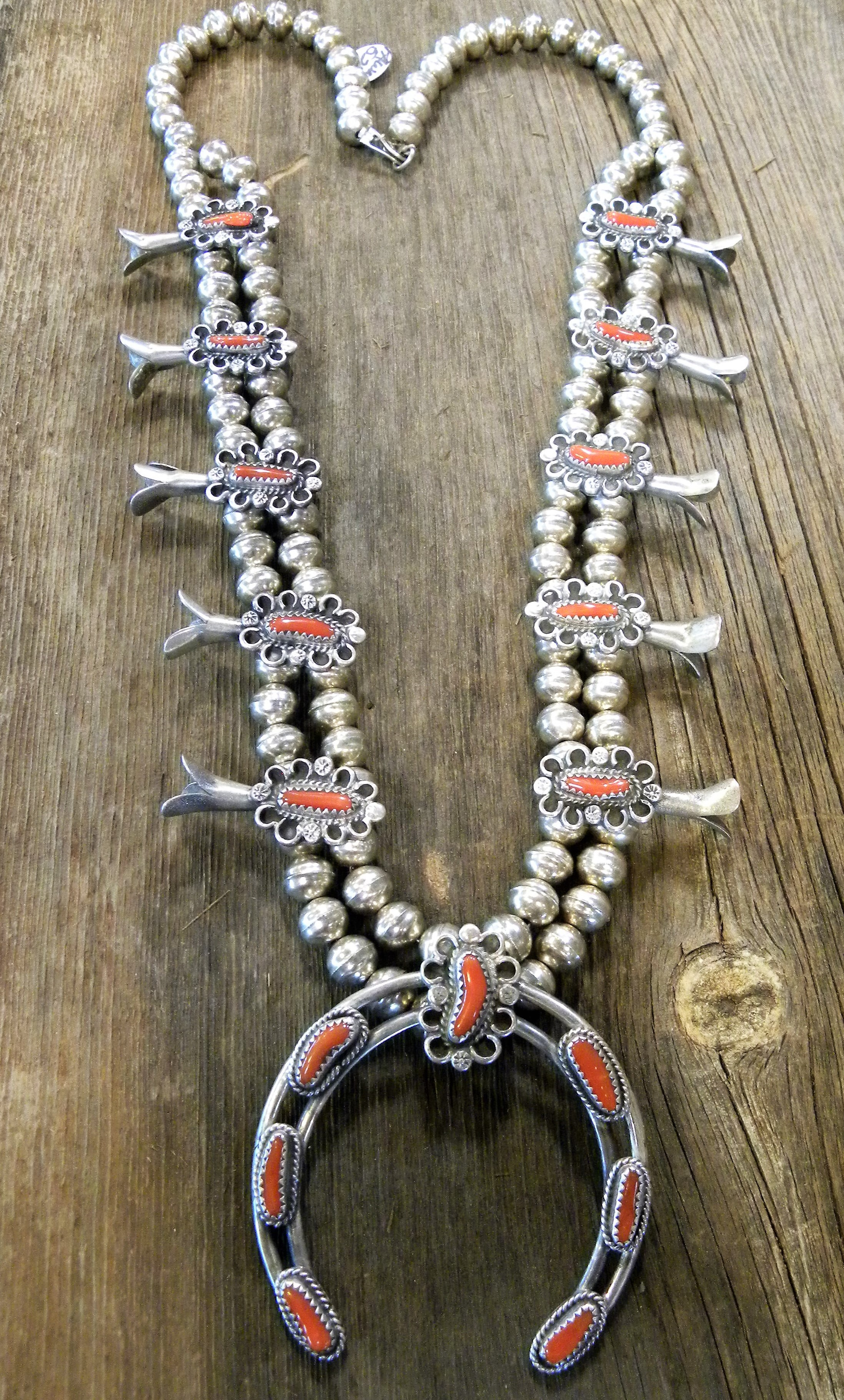 SBN6 Pawn Navajo Handmade Coral Squash Blossom Necklace