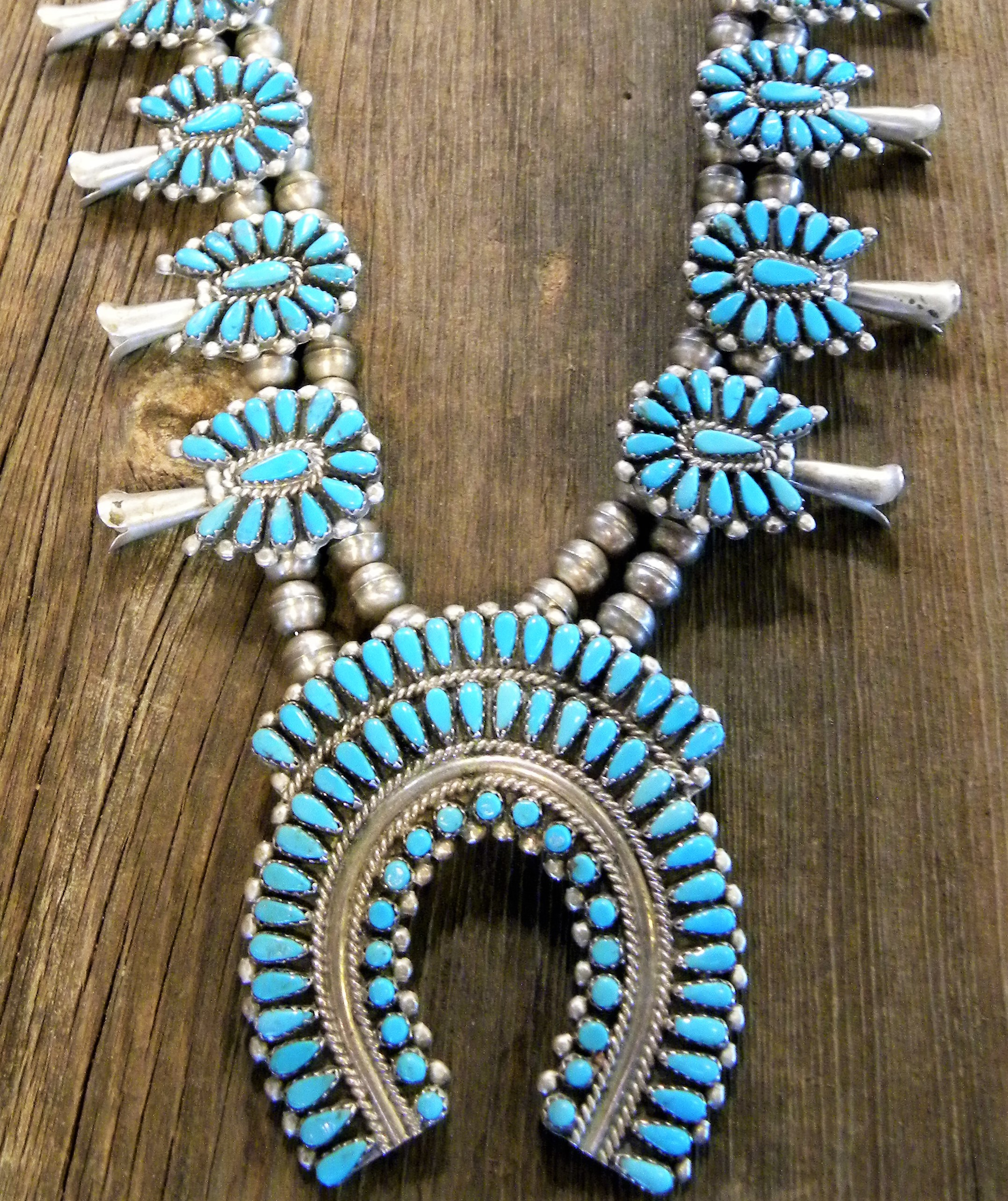 SBN13 Pawn Sleeping Beauty Turquoise Squash Blossom Necklace