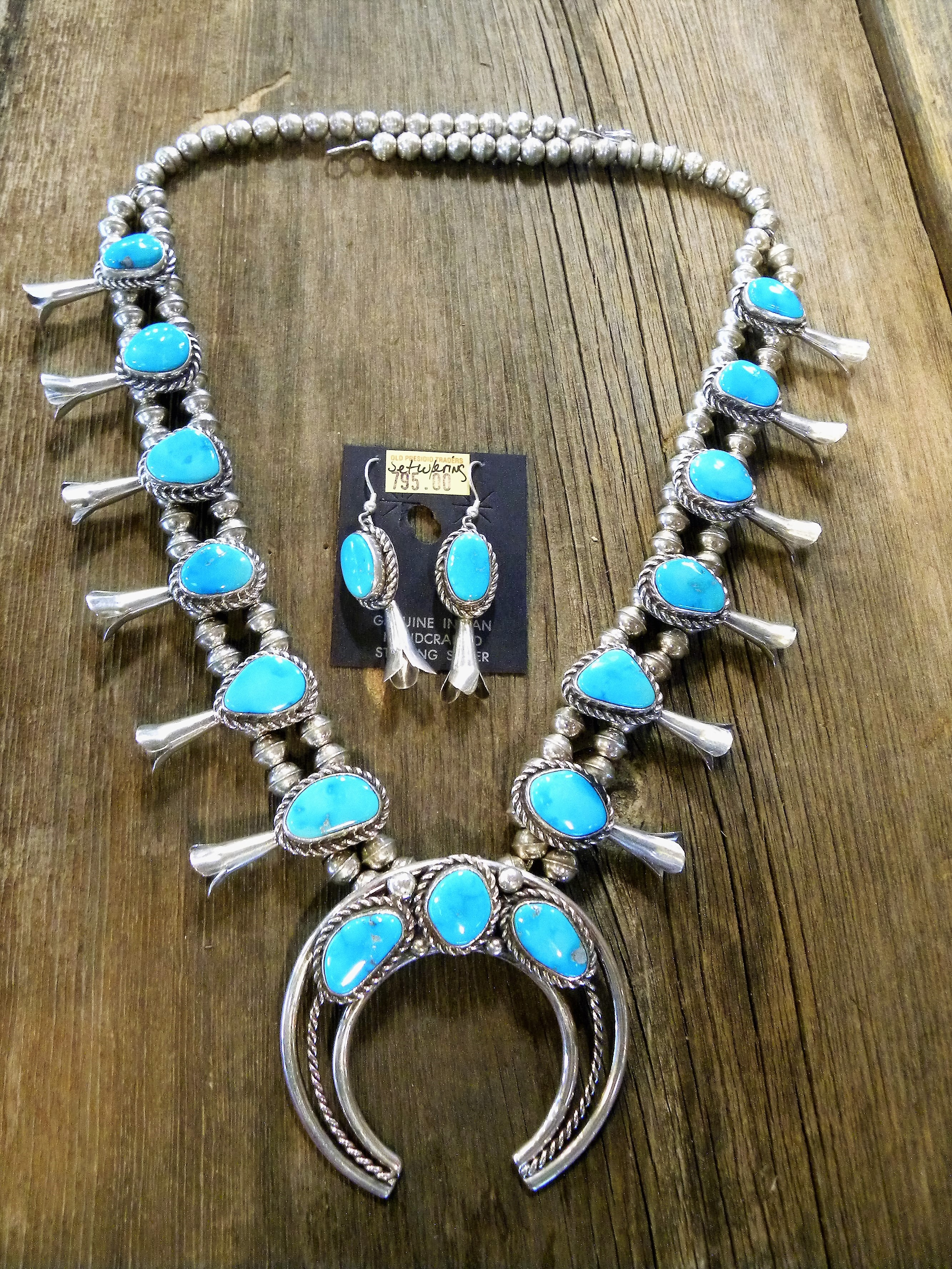 SBN16 Pawn Turquoise Squash Blossom Necklace with matching earrings