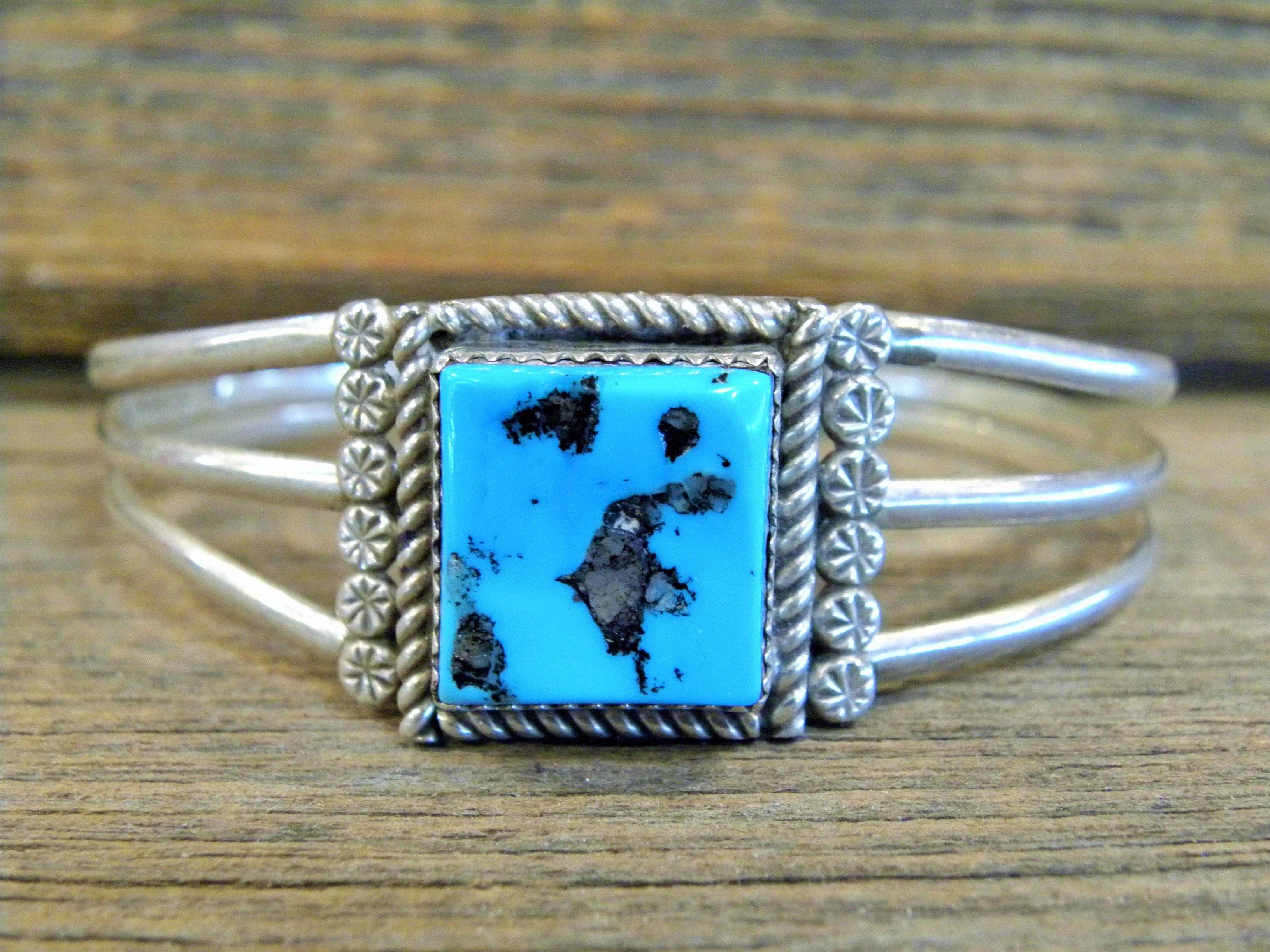PB24 Pawn Navajo Handmade Sleeping Beauty Turquoise Bracelet