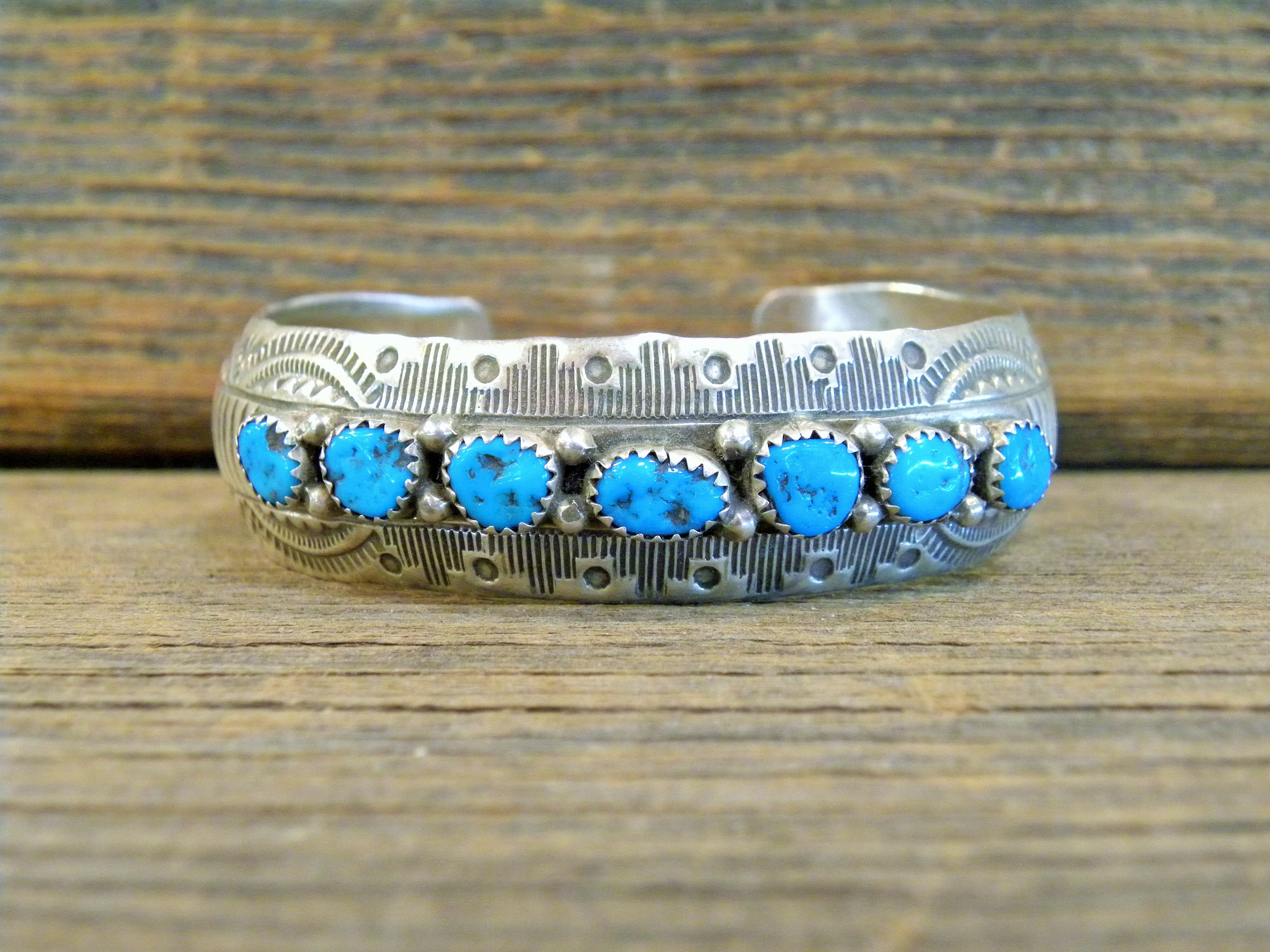 PB27 Pawn 7 Stone Sleeping Beauty Turquoise Bracelet