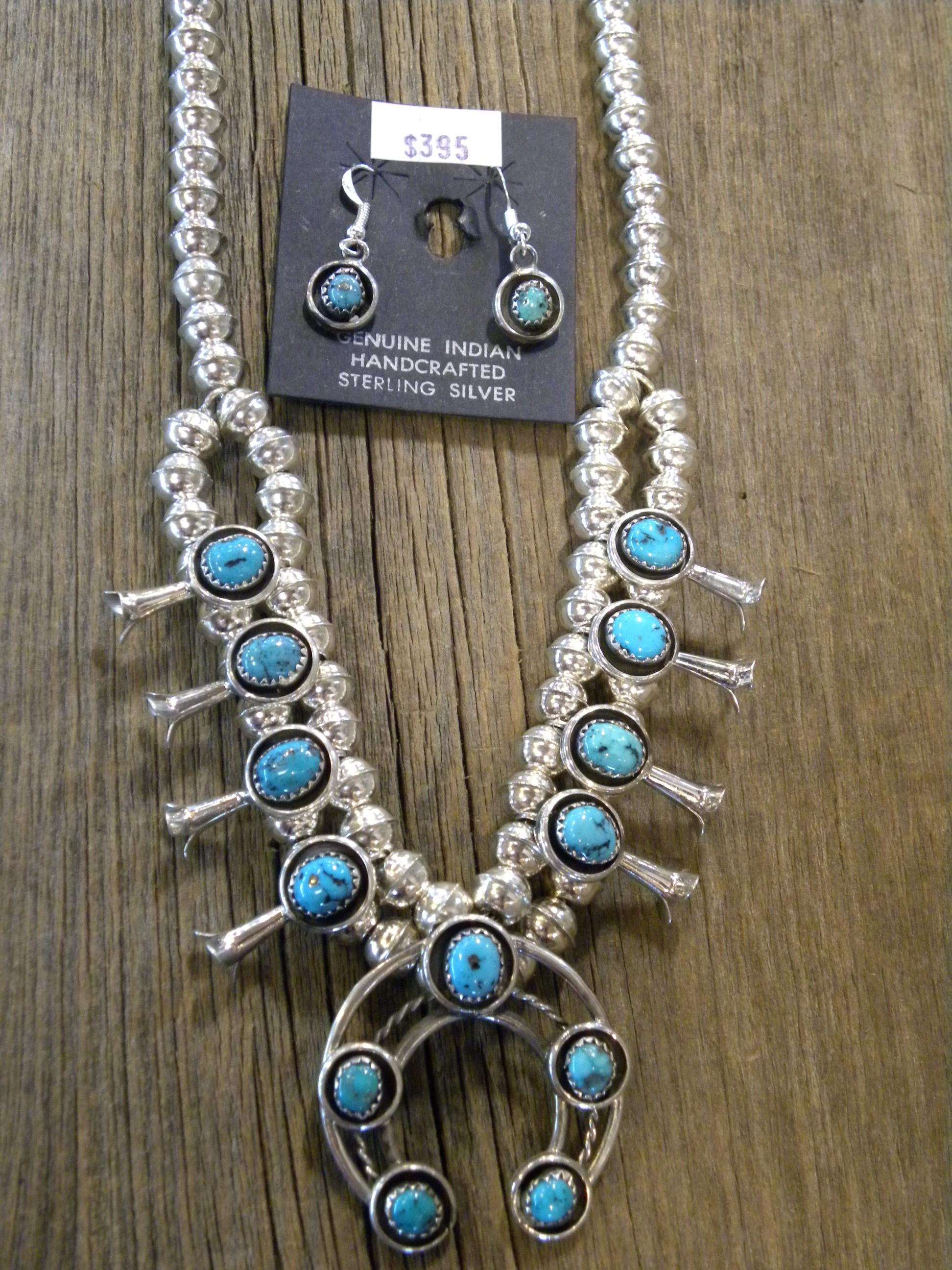 SBN14 Navajo Handmade Sterling Silver Turquoise Squash Blossom