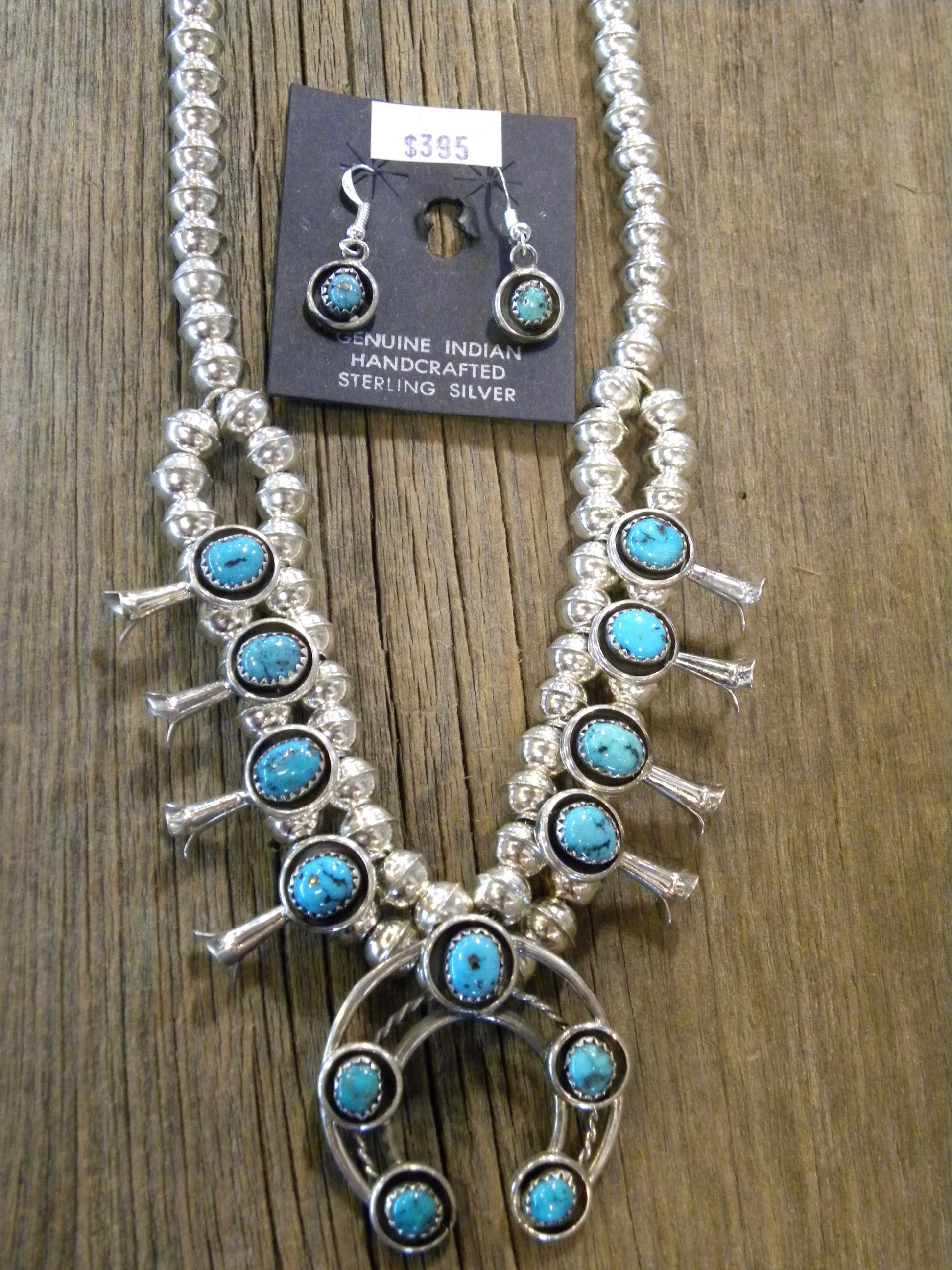 SBN12 Sleeping Beauty Turquoise Squash Blossom Necklace Navajo Handmade