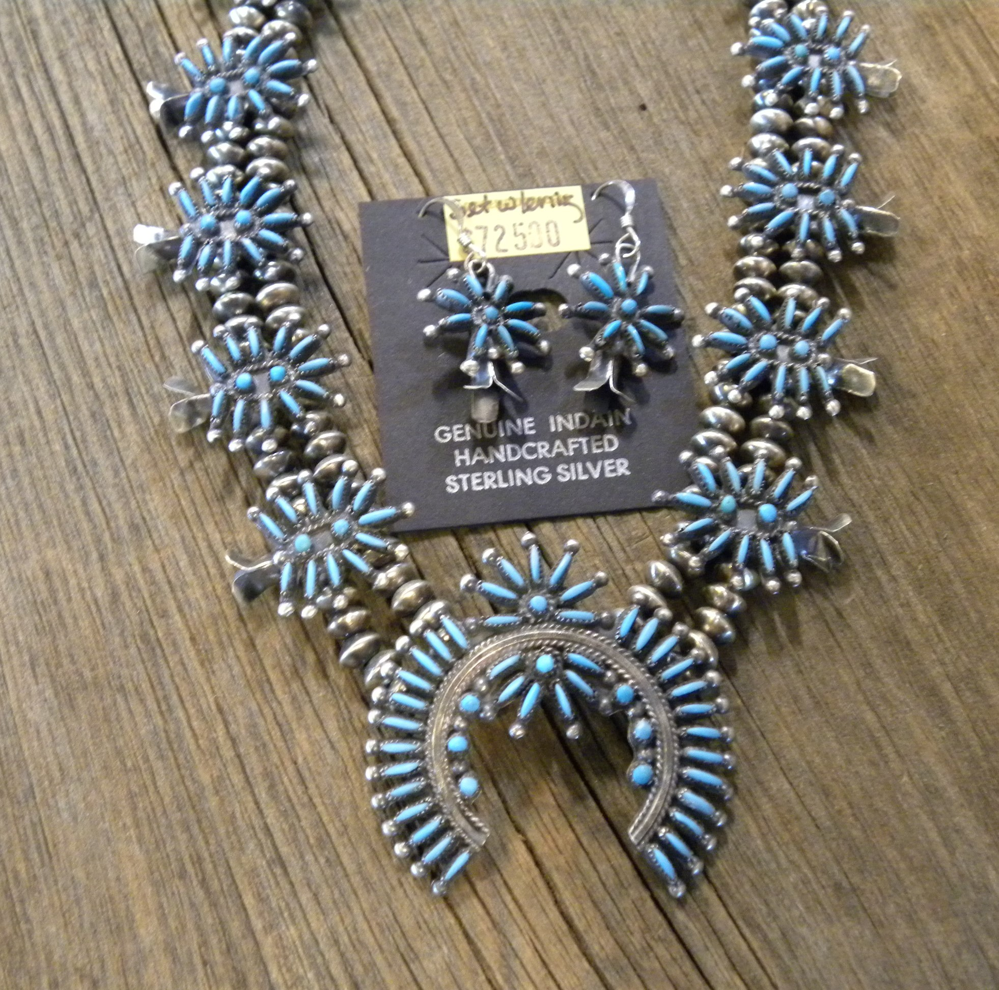 SBN15 Sterling Silver Zuni Handmade Squash Blossom Necklace