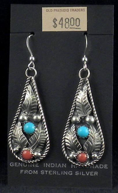ERN10 Monroe & Lillie Ashley Coral & Turquoise Earrings