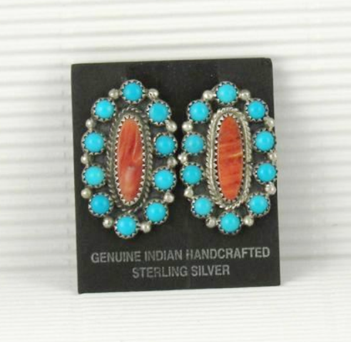 ERN76 Orange Spiny Oyster & Turquoise Earrings