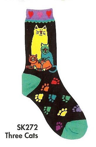 SK272- Three Cats Sock In Size 8-11