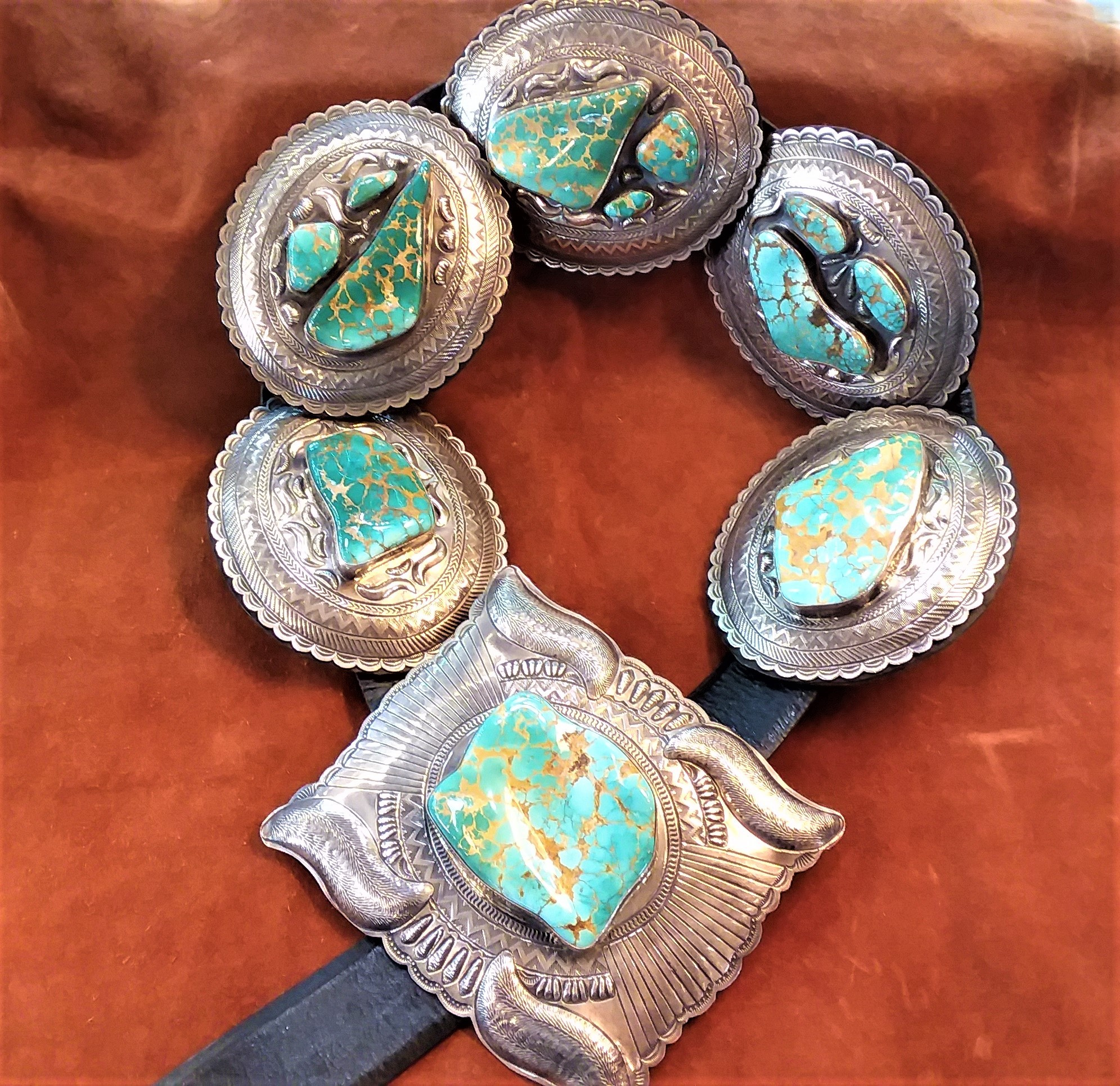 CB12 Large Natural Royston Turquoise Navajo Handmade Concho Belt