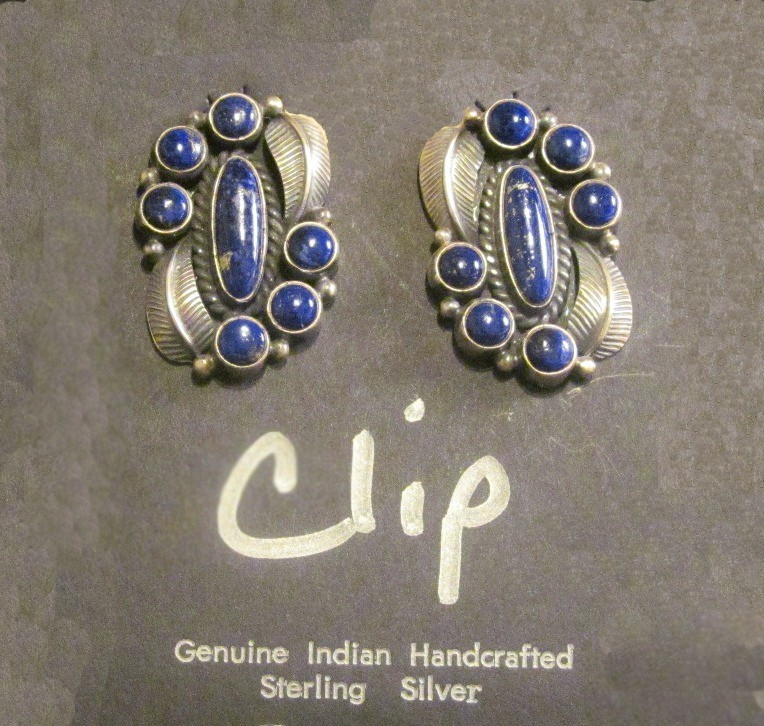 KSE7 Kirk Smith Lapis Clip Earrings