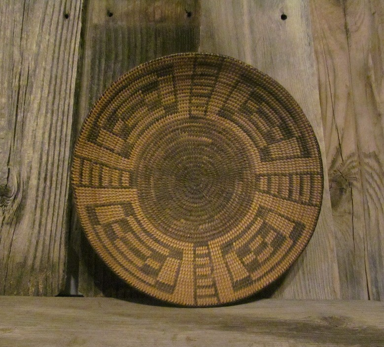 Turtle Back Design. Antique, Pima Indian Handmade Basket, Circa 1800 ONB13
