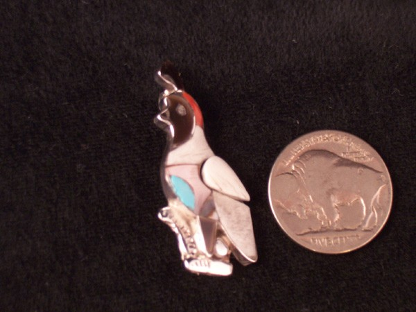 P2 Zuni Inlay Quail Pin/Pendant