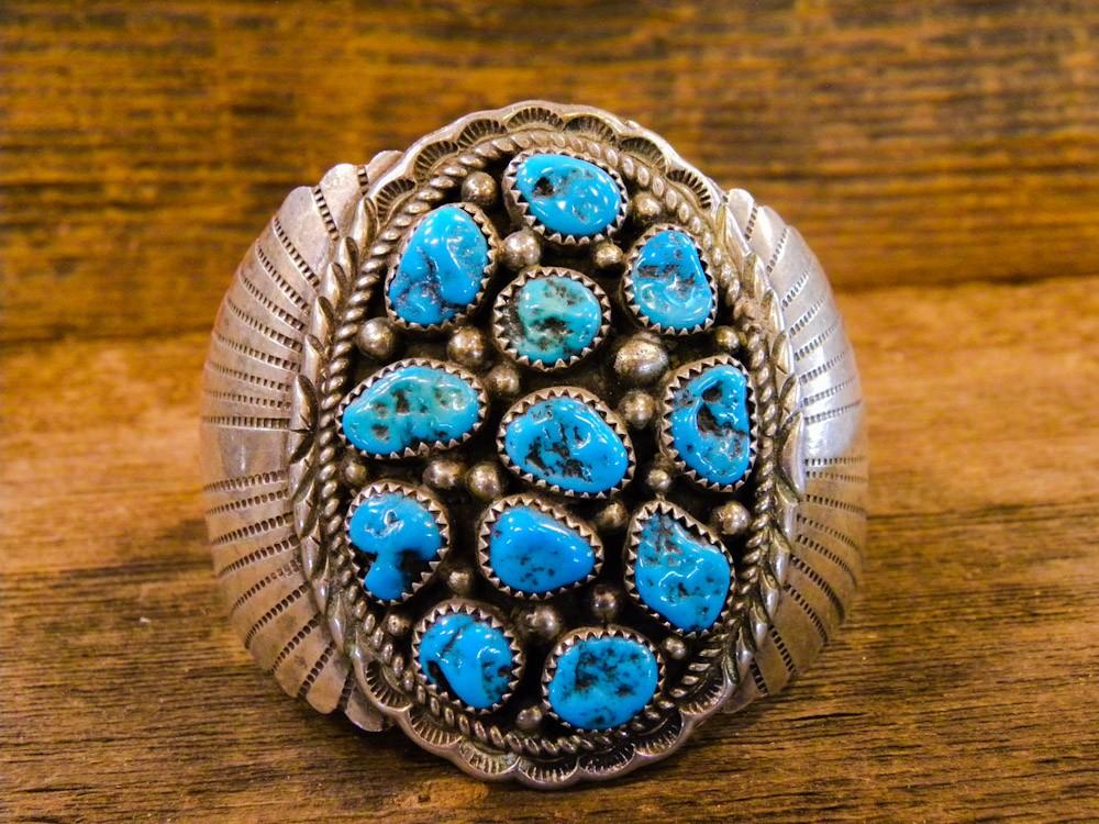 PB2- Navajo Pawn Bracelet with Sleeping Beauty Turquoise