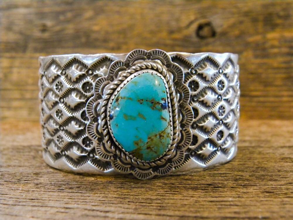 PB12- Pawn Navajo Handmade Turquoise Bracelet