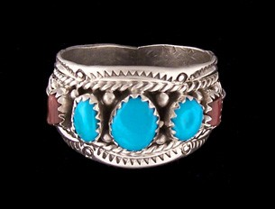 R118 Turquoise & Coral Ring