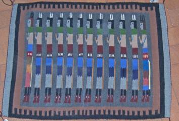 DER82 - Navajo Handmade Rug Yei Bichei Symbol