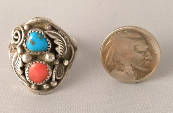 R7 Navajo Turquoise & Coral Pawn Ring