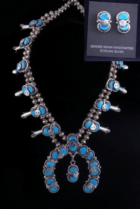 SBN39 Effie Calavaza Squash Blossom Necklace W/Earrings