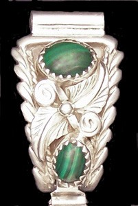 WT004 Navajo Handmade Malachite Watch Tip