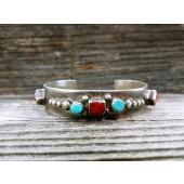PB22- Pawn Turquoise & Coral Bracelet