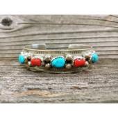 PB52- Pawn Turquoise & Coral Bracelet